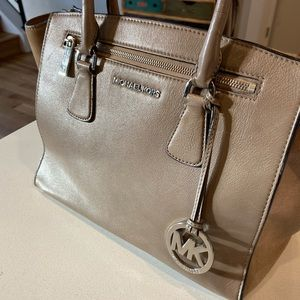 Michael Kors leather and suede satchel